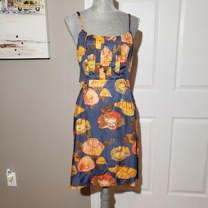 MAEVE Anthropologie peony silk blend dress